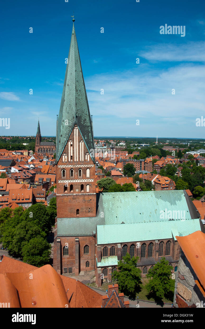 St Johannis Church, Blick vom Wasserturm, Lüneburg, Lower Saxony, Germany Stock Photo