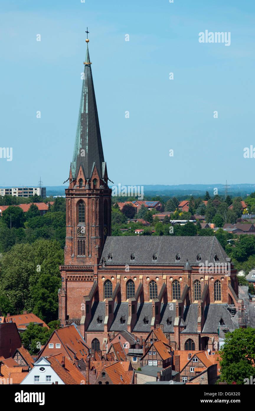 St Nicolai Church, Blick vom Wasserturm, Lüneburg, Lower Saxony, Germany - Stock Image
