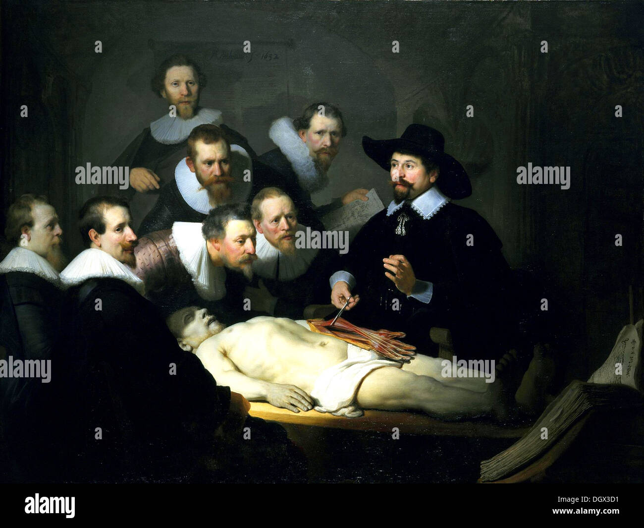 The Anatomy Lesson of Dr. Nicolaes Tulp - by Rembrandt van Rijn, 1632 - Stock Image