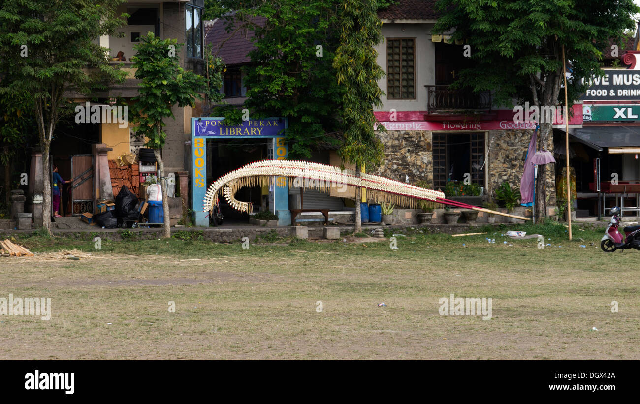 religious item field lay Bali art bamboo Ubud Asia religion art artist artistic decoration street erected habit tradition street - Stock Image