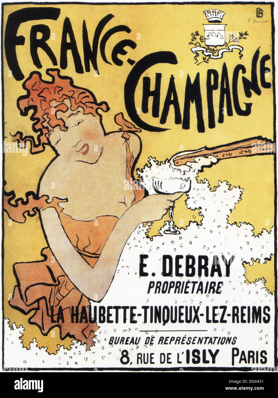 Pierre Bonnard France-Champagne - a vintage poster, 1891 - Editorial use only. - Stock Image