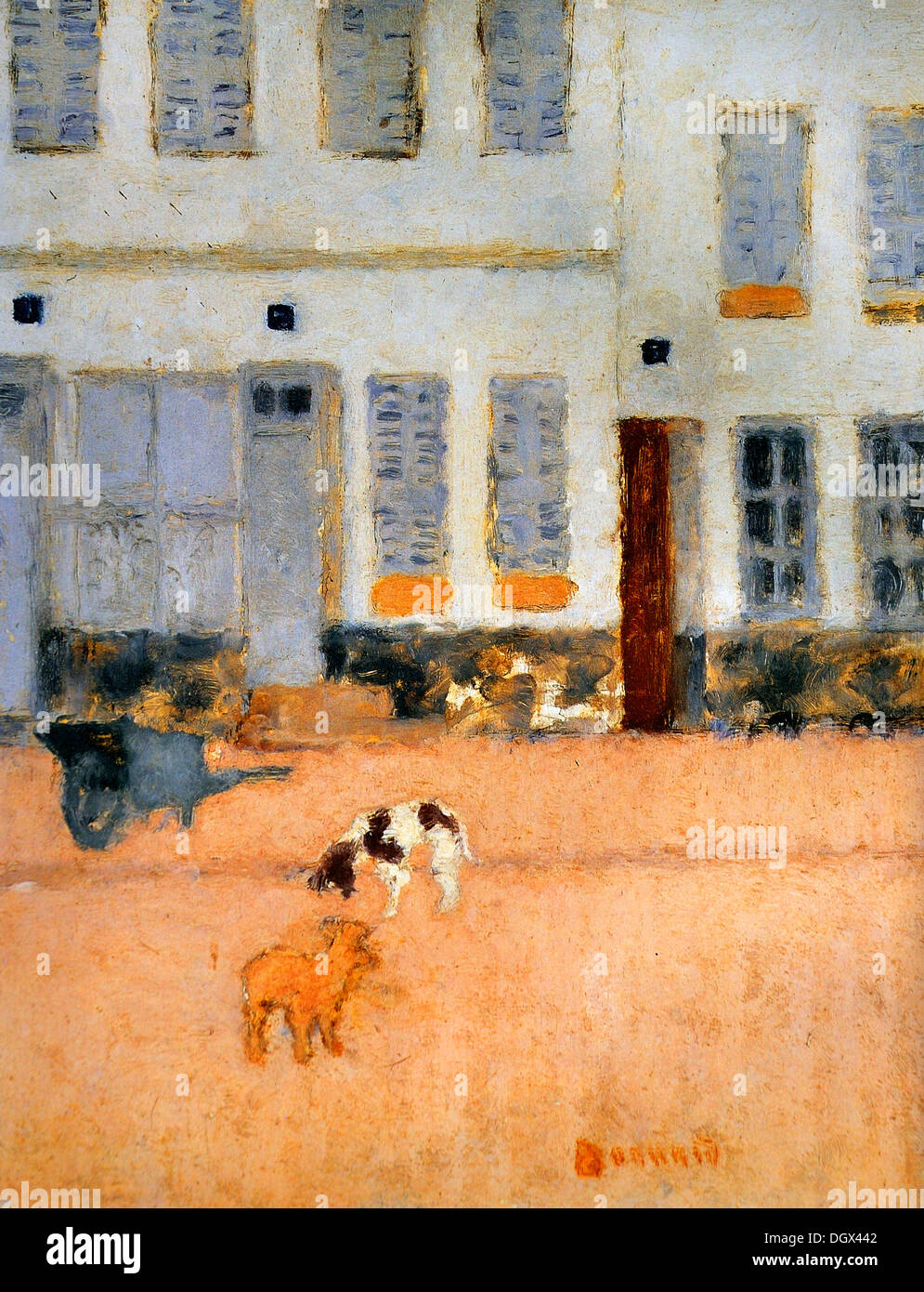 Two Dogs in a Deserted Street - by Pierre Bonnard, 1894 - Stock Image