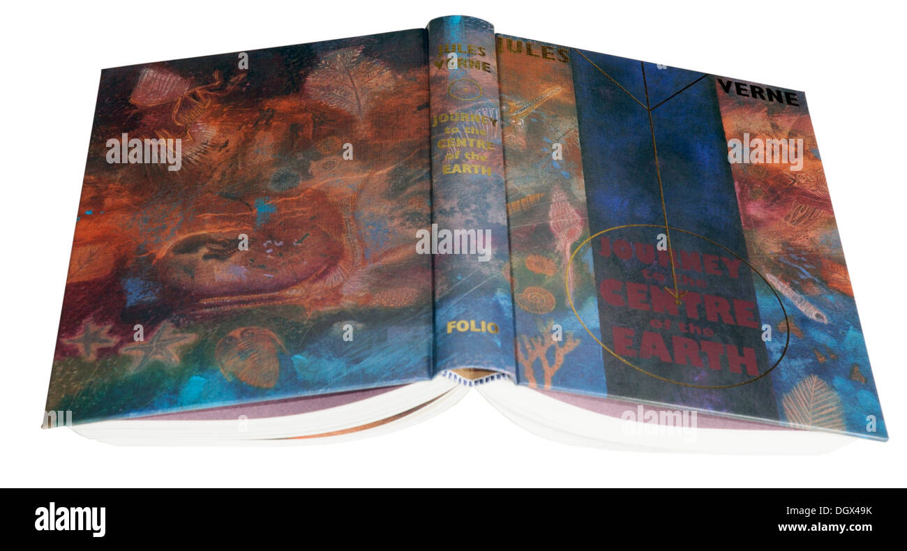 A Folio Society edition of Journey to the Centre of the Earth by Jules Verne - Stock Image