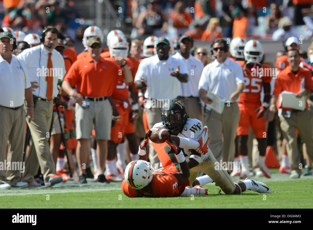 Miami, FL, USA. 26th Oct, 2013. Stacy Coley #3 of Miami catches a ...