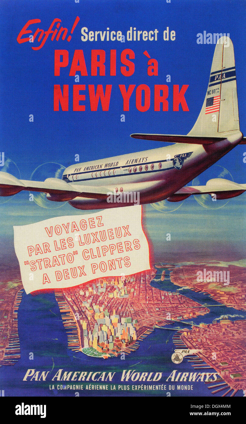 Pan American Airlines vintage travel poster, 1940's - Editorial use only. - Stock Image