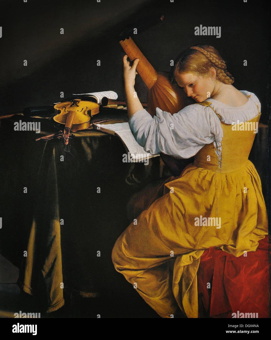 The Lute Player - by Orazio Gentileschi, 1610 - Stock Image