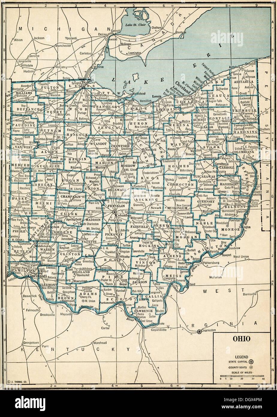 Ashley Ohio Map.Old Map Of Ohio 1930 S Stock Photo 62040124 Alamy
