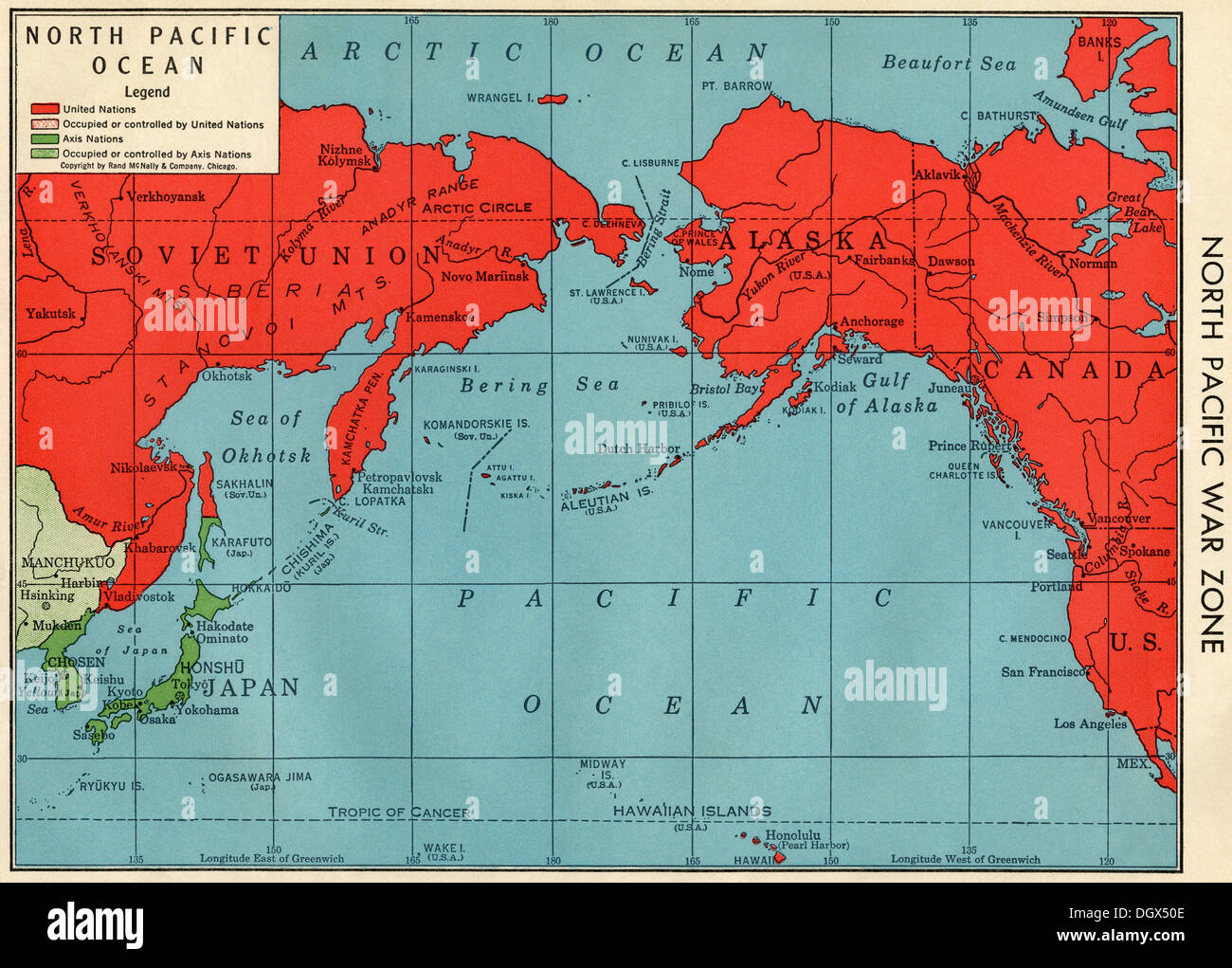 Old map of North Pacific War Zone in WWII, 1940's Stock Photo
