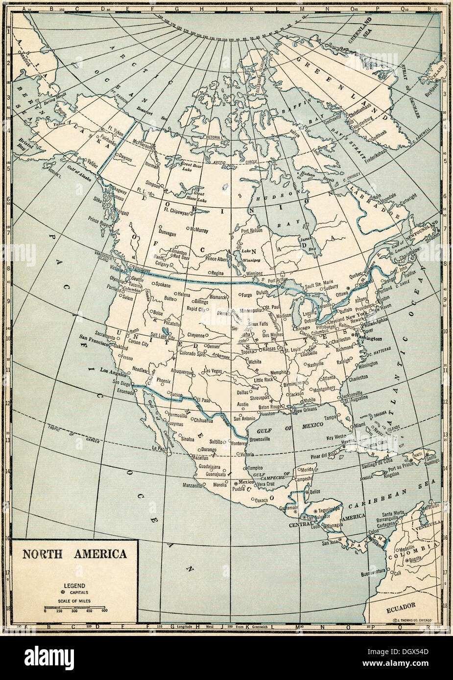 Old map of North America, 1930's - Stock Image