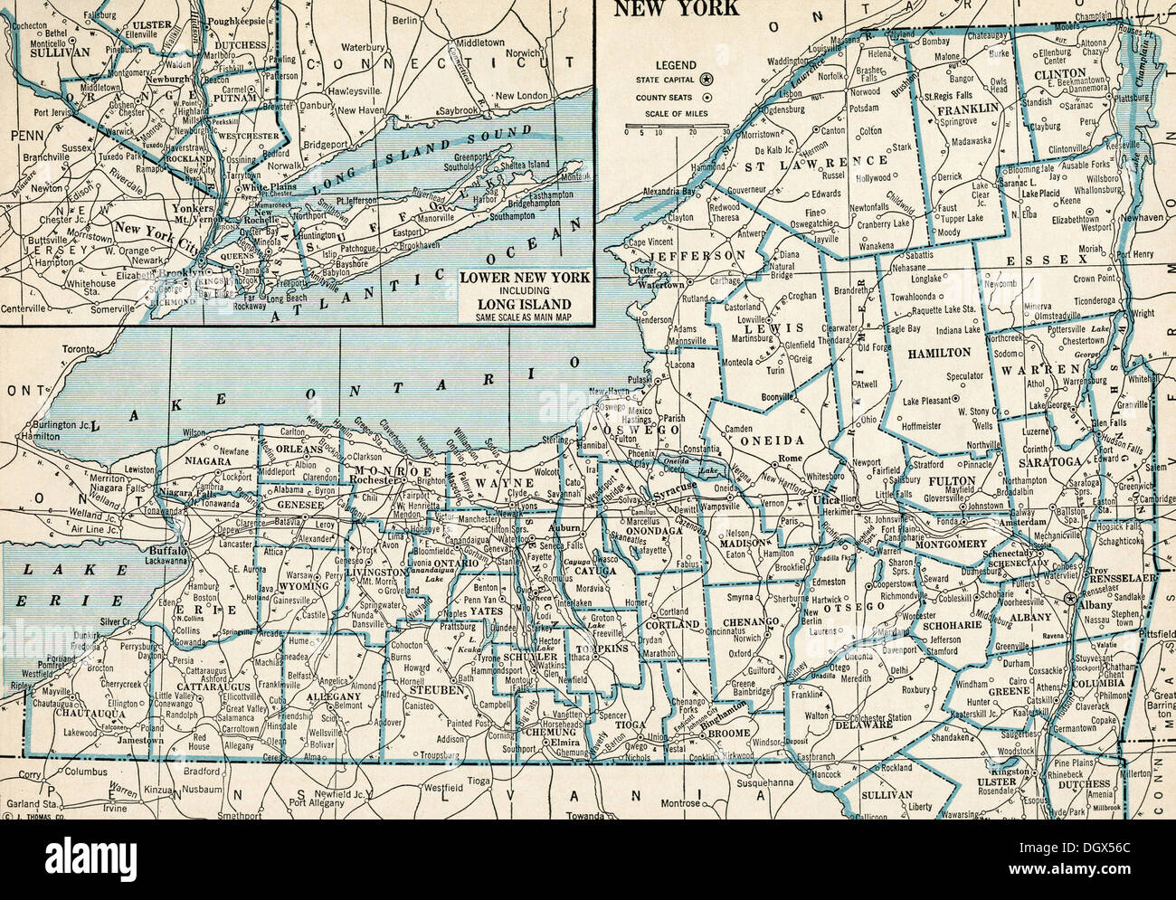 Old Map Of New York.Old Map Of New York State 1930 S Stock Photo 62040452 Alamy