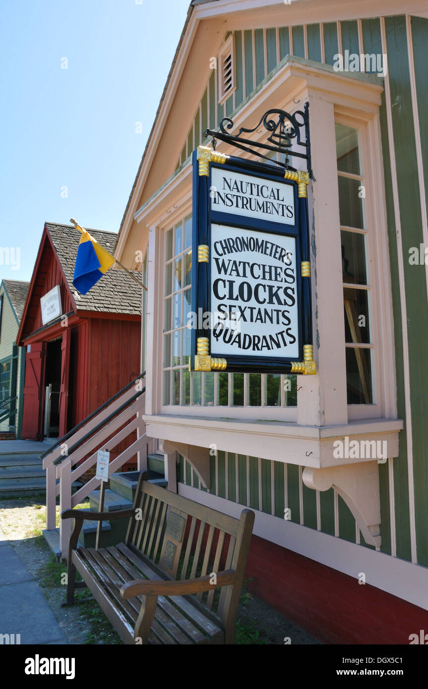 Watches and Chronometers shop Museum at Mystic Seaport, Connecticut, USA - Stock Image
