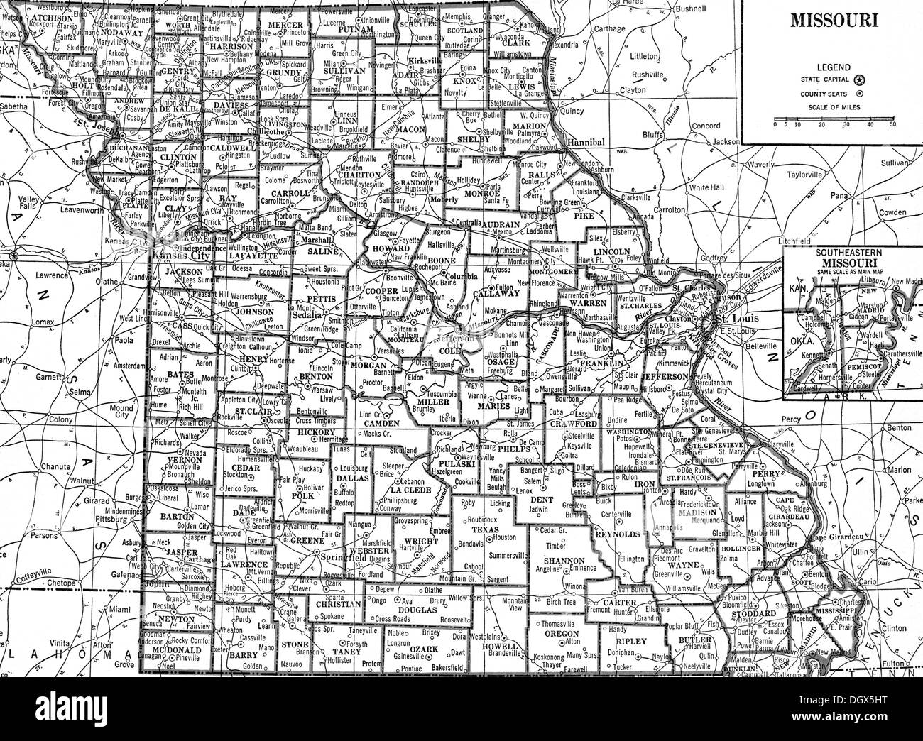 Old map of Missouri state, 1930\'s Stock Photo: 62040772 - Alamy