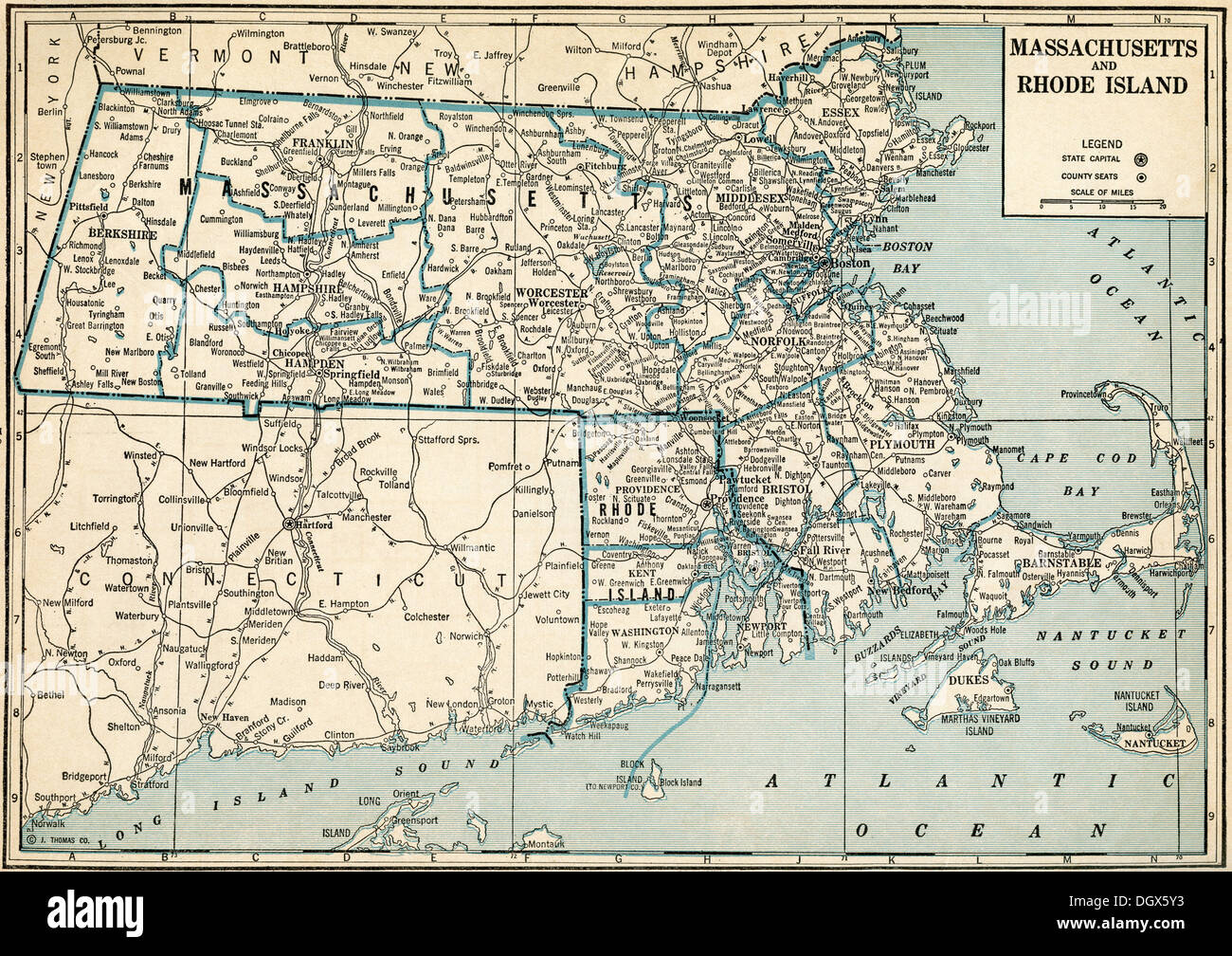 Map Of Massachusetts And Rhode Island Old map of Massachusetts and Rhode Island states, 1930's Stock