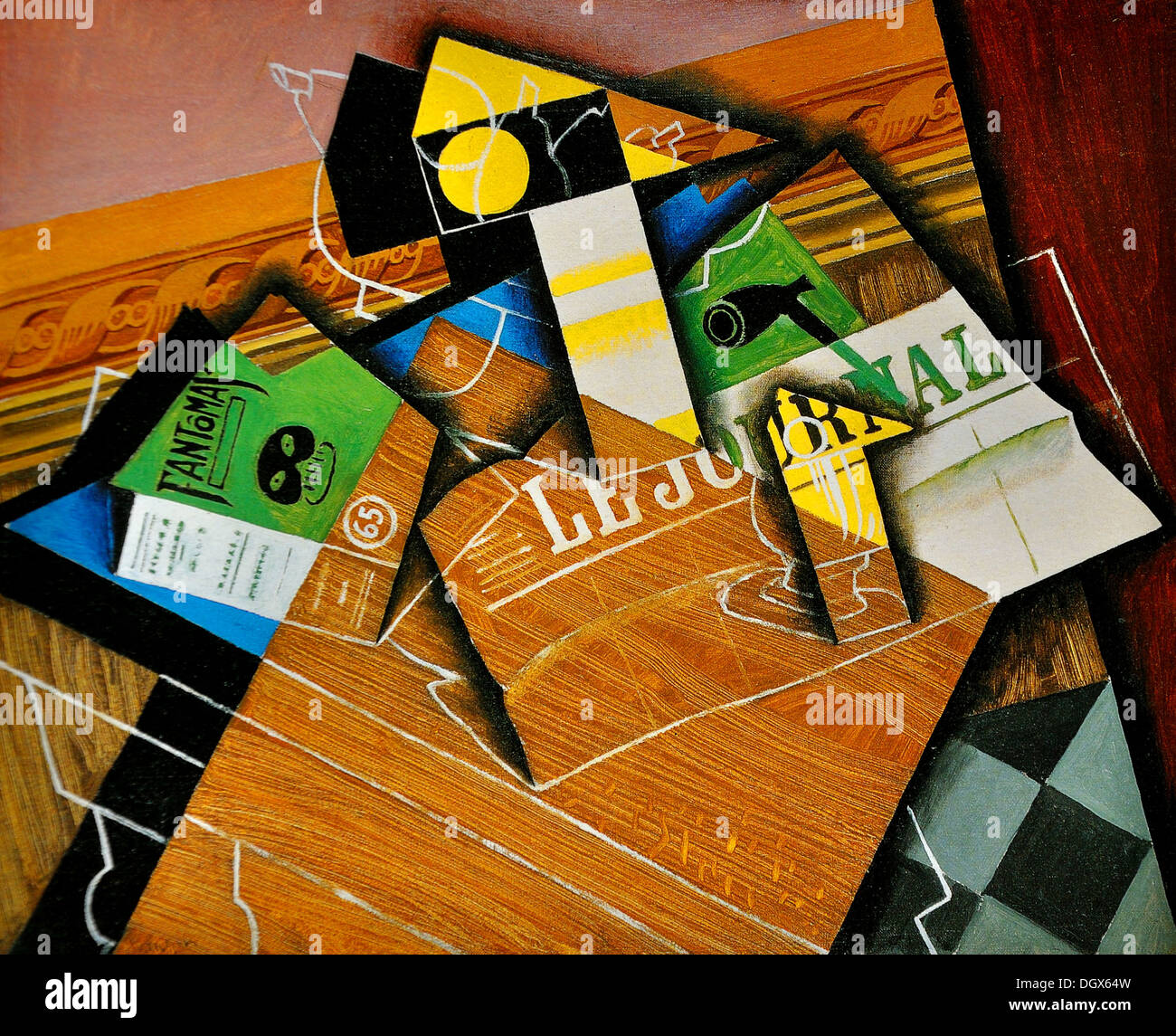 Fantomas (Pipe And Newspaper) - by Juan Gris, 1915 - Stock Image