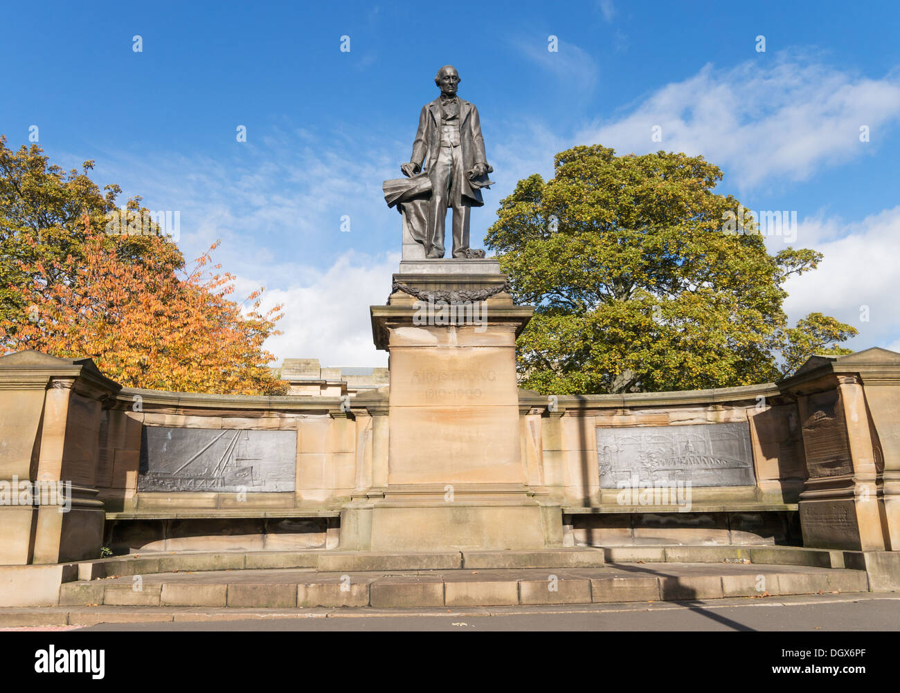 Bronze sculpture of Lord Armstrong Newcastle north east England UK - Stock Image