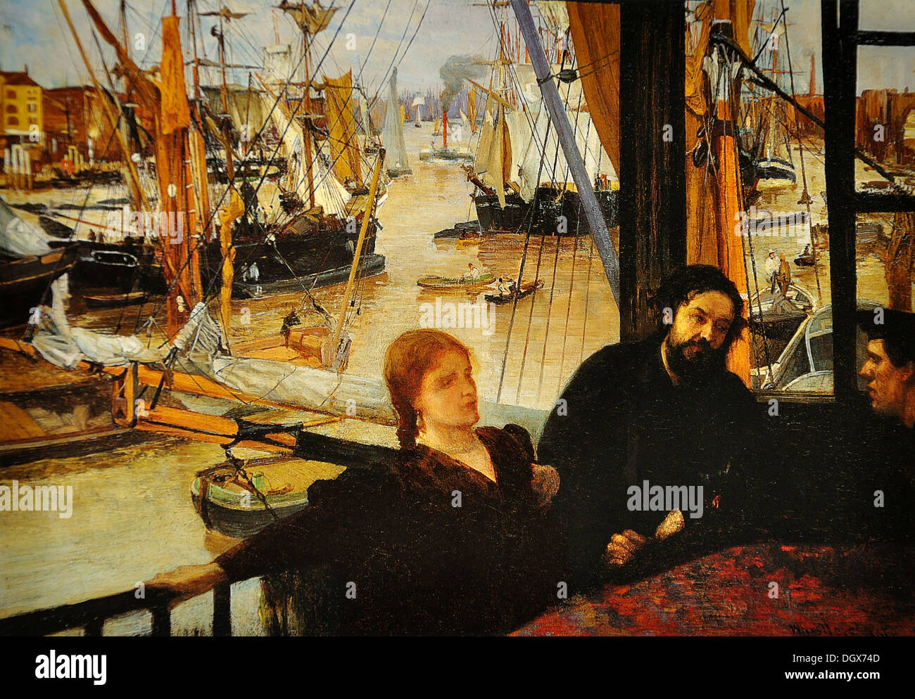 Wapping on Thames - by James McNeill Whistler, 1864 - Stock Image