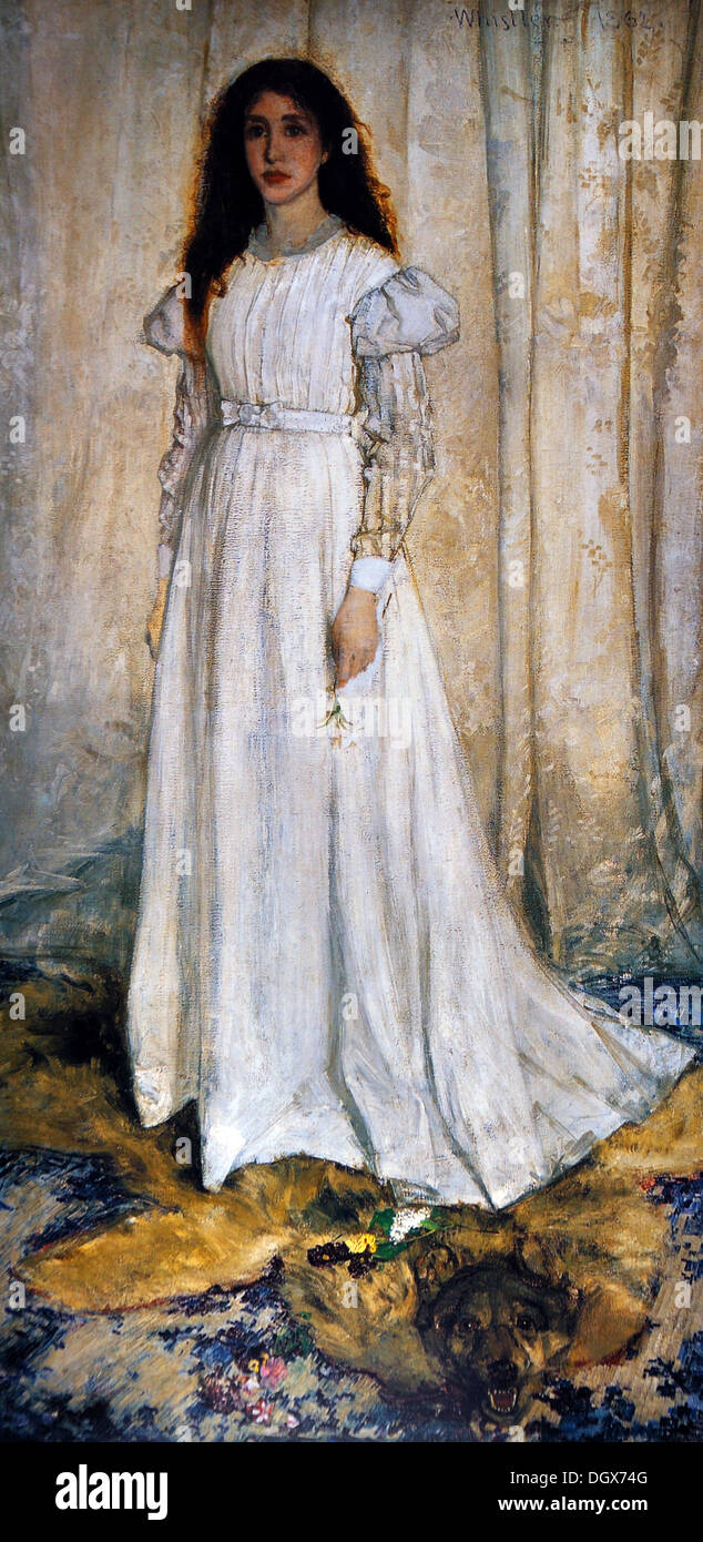 Symphony in White, No. 1: The White Girl  - by James McNeill Whistler, 1862 - Stock Image