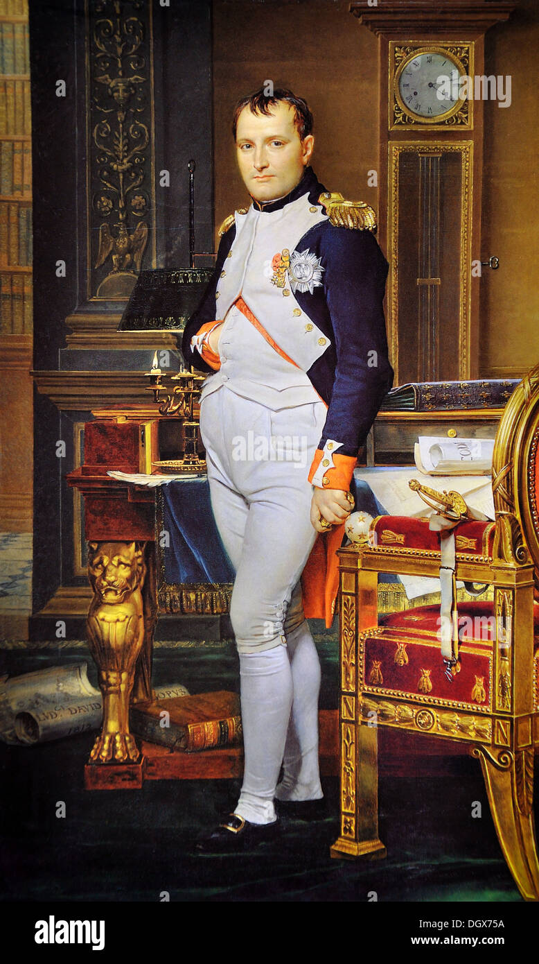 The Emperor Napoleon in His Study at the Tuileries - by Jacques-Louis David, 1812 - Stock Image