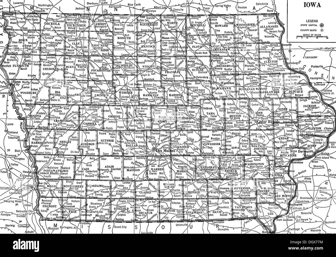 Old Iowa Map.Old Map Of Iowa State 1930 S Stock Photo 62042056 Alamy
