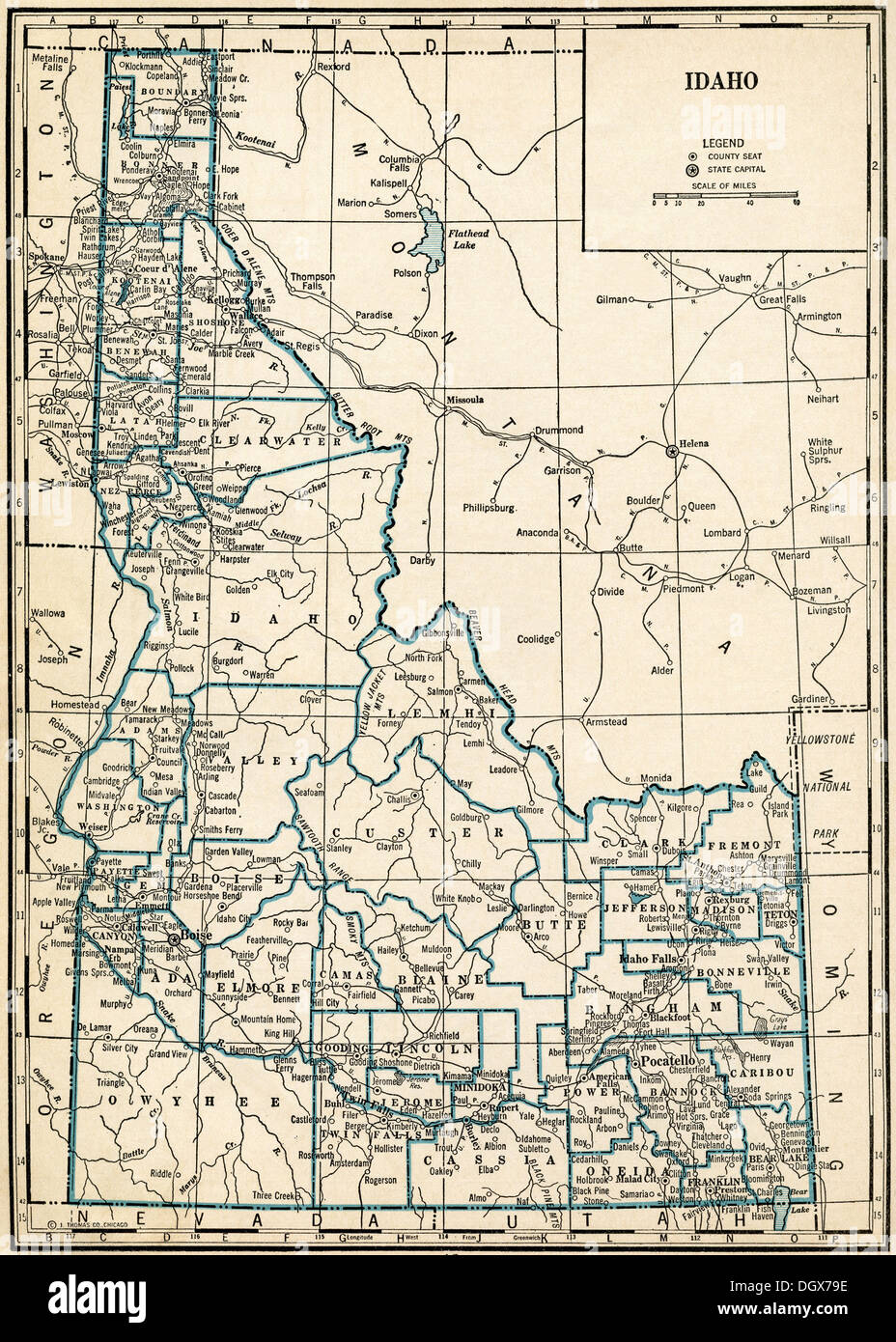 Old map of Idaho state, 1930\'s Stock Photo: 62042106 - Alamy