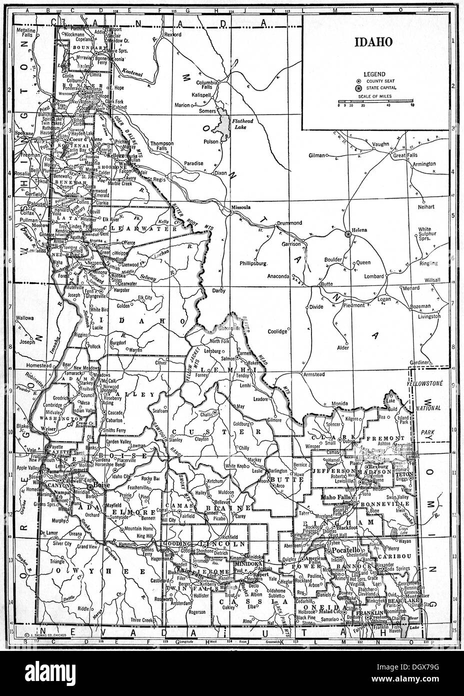 Old map of Idaho state, 1930\'s Stock Photo: 62042108 - Alamy