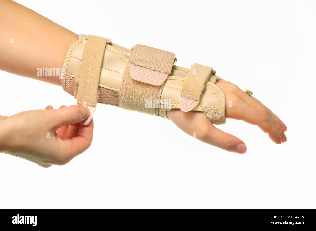 hand with a wrist brace isolated - Stock Image