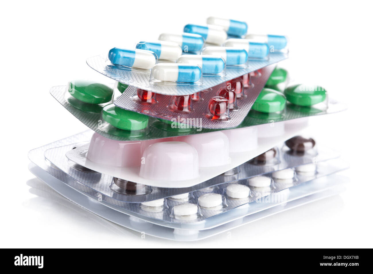 stack of pill packs isolated - Stock Image