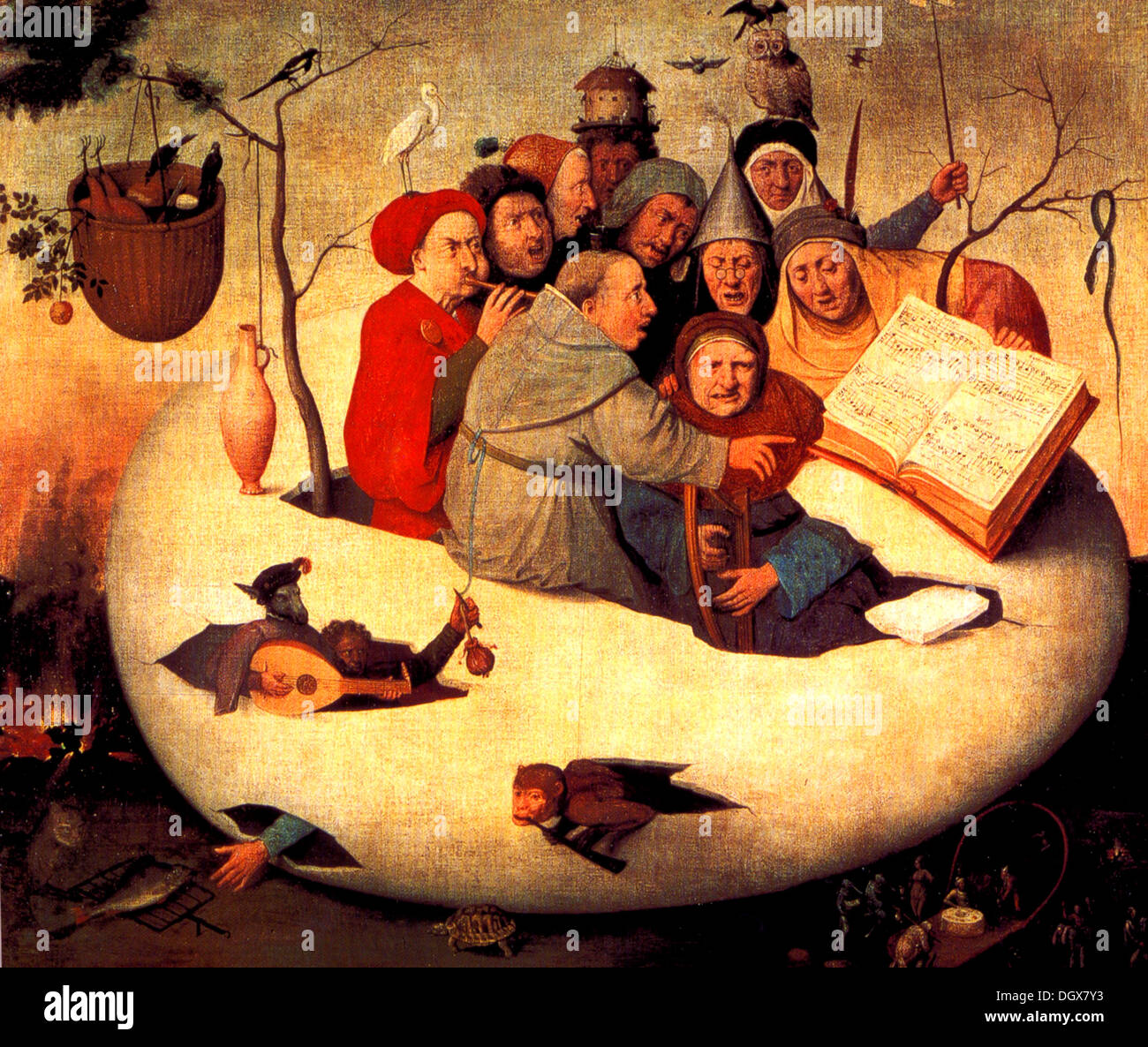 The Concert in the Egg - by Hieronymus Bosch, 1480 - Stock Image