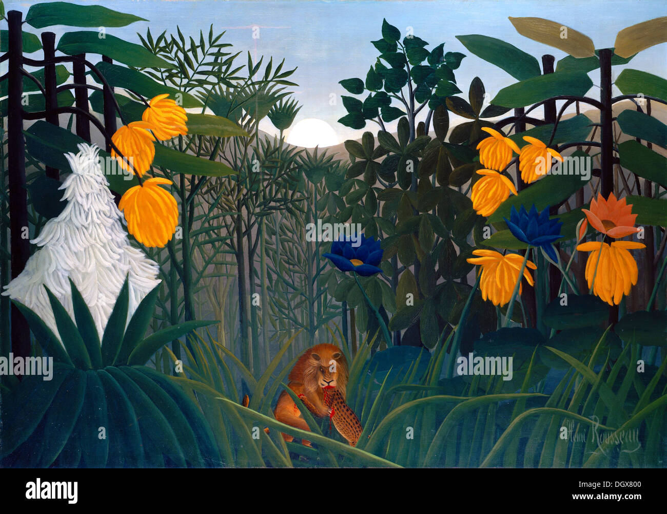 The Repast Of The Lion - by Henri Rousseau, 1907 - Stock Image