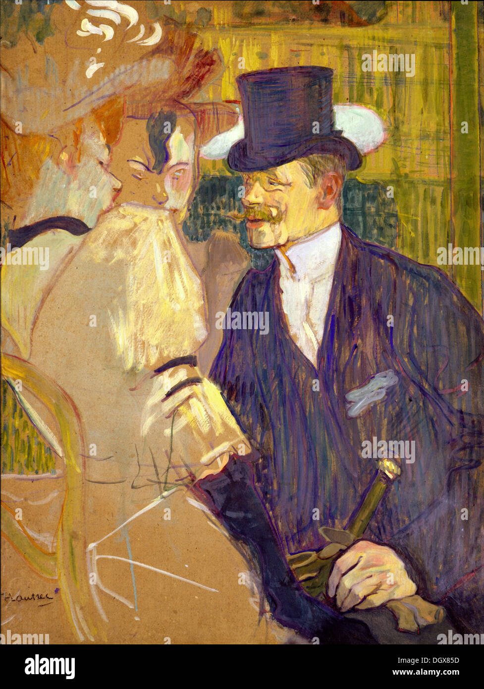 The Englishman (William Tom Warrener) at the Moulin Rouge - by Henri de Toulouse-Lautrec, 1892 - Stock Image