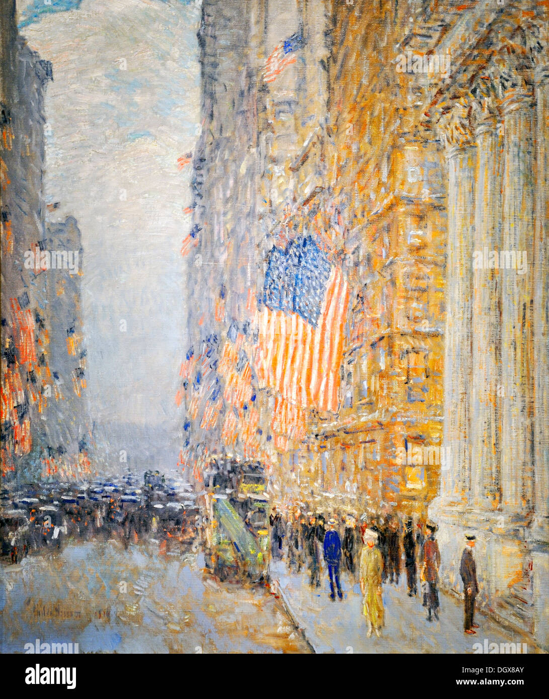 Flags on the Waldorf - by Childe Hassam, 1916 - Stock Image