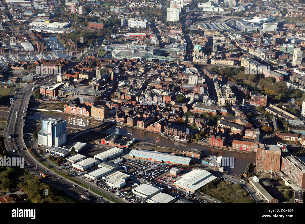 aerial view of Hull, from the east looking west across the River Hull waterfront Stock Photo