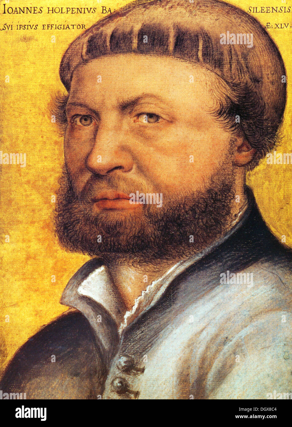 Self-portrait - by Hans Holbein, 1543 - Stock Image