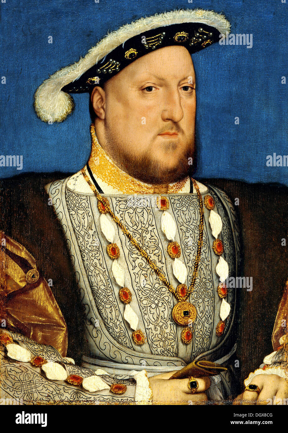 Portrait of Henry VIII, king of England - by Hans Holbein the Younger, 1540 - Stock Image