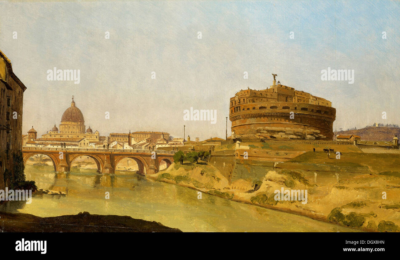 Rome with St. Peter's and the Castel Sant' Angelo - by Gustaf Söderberg, 1821 - Stock Image