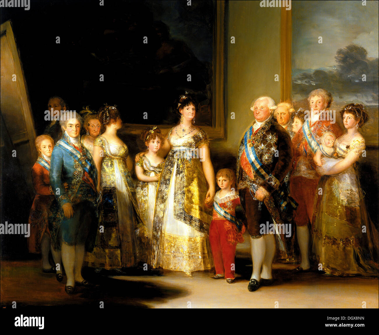 Charles IV of Spain and His Family - by Francisco Goya, 1800 - Stock Image