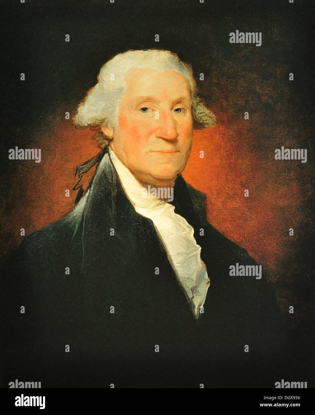 Vaughan Portrait of George Washington - by Gilbert Stuart, 1795 Stock Photo