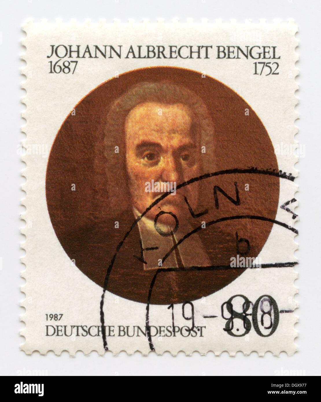 Germany postage stamp depicting Johann Albrecht Bengel, a Lutheran pietist clergyman and Greek-language scholar - Stock Image
