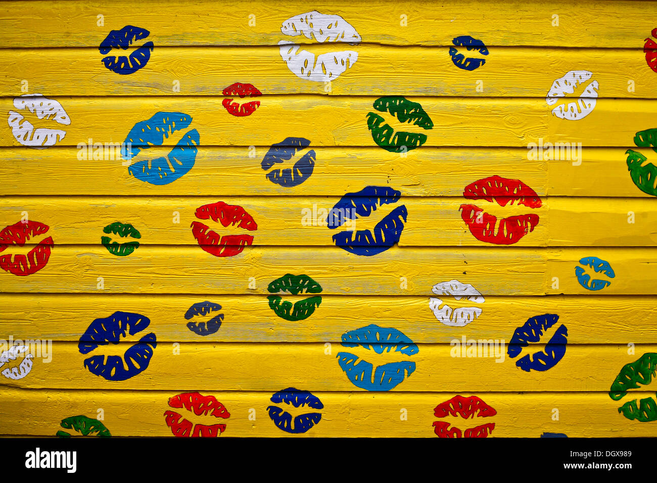 Kissing lips painted on a house wall, Aberdeen, Scotland, United Kingdom - Stock Image