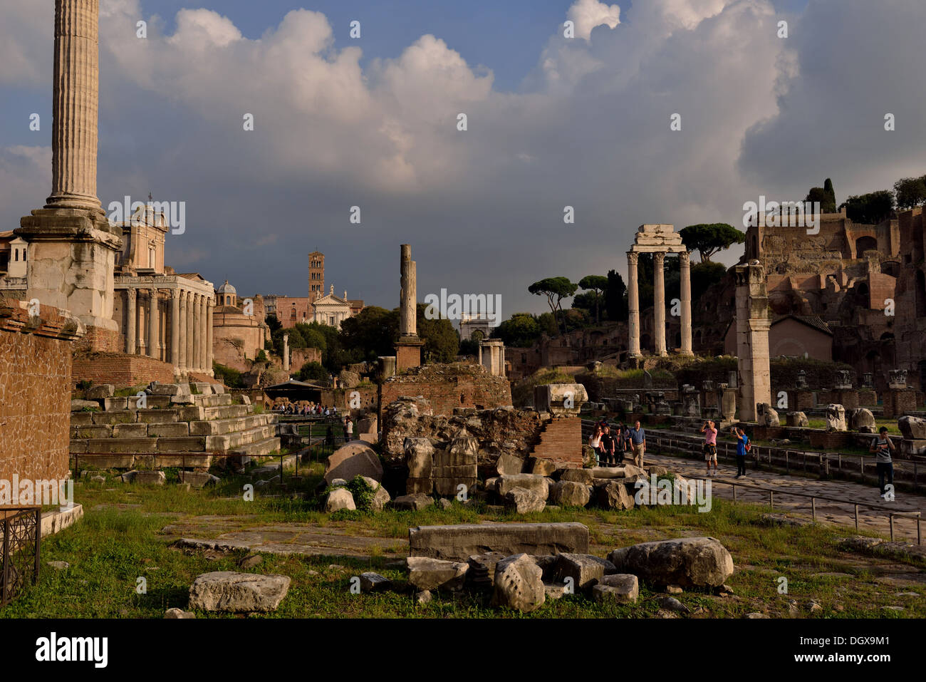 Ancient Rome located between the Palatine Hill and the Capitoline Hill of the city of Rome, Italy - Stock Image