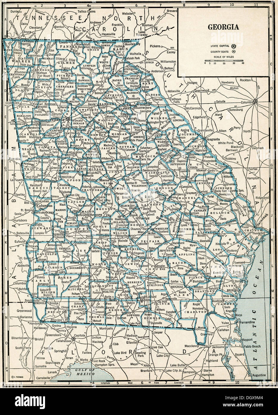 Map Of Old Georgia.Old Map Of Georgia State 1930 S Stock Photo 62043972 Alamy