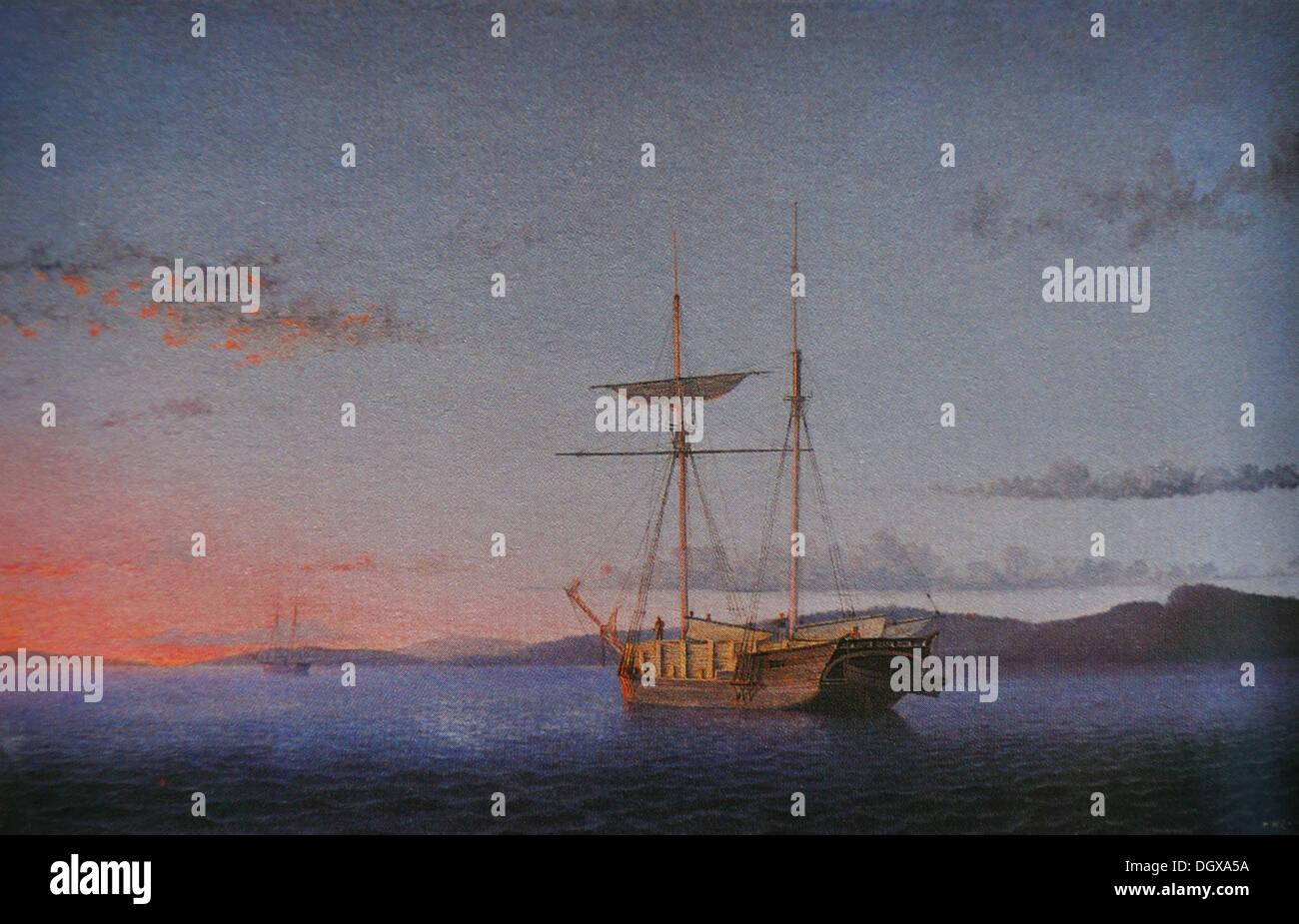 Lumber Schooners at Evening on Penobscot Bay - by Fritz Hugh Lane, 1863 Stock Photo