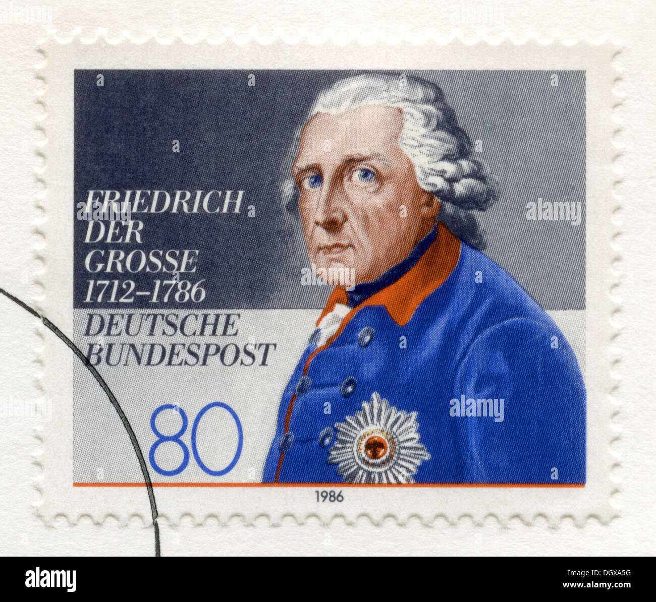 Germany postage stamp depicting King Frederick II of Prussia - Stock Image