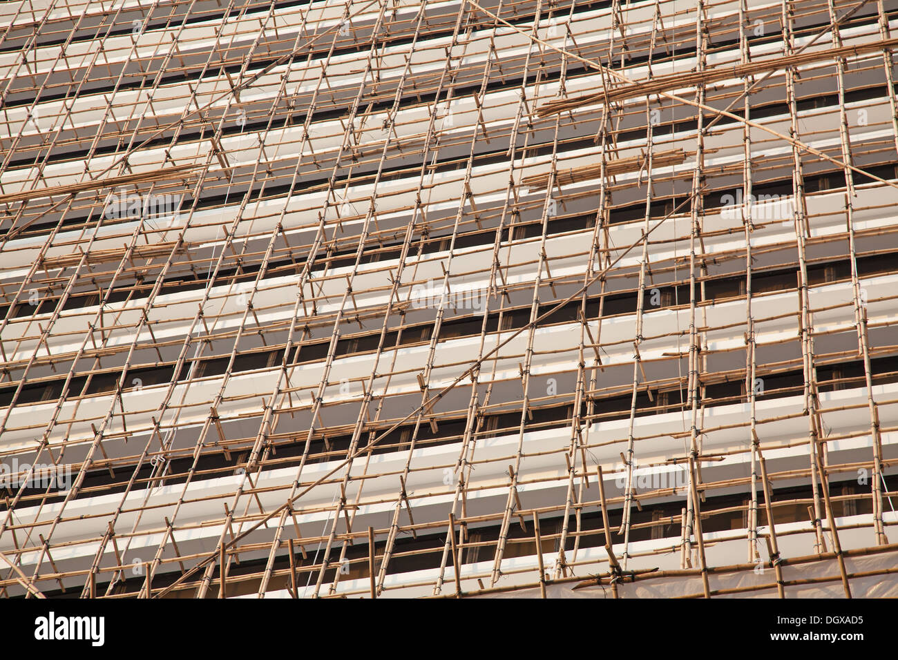 Hong Kong's famous bamboo scaffolding - Stock Image
