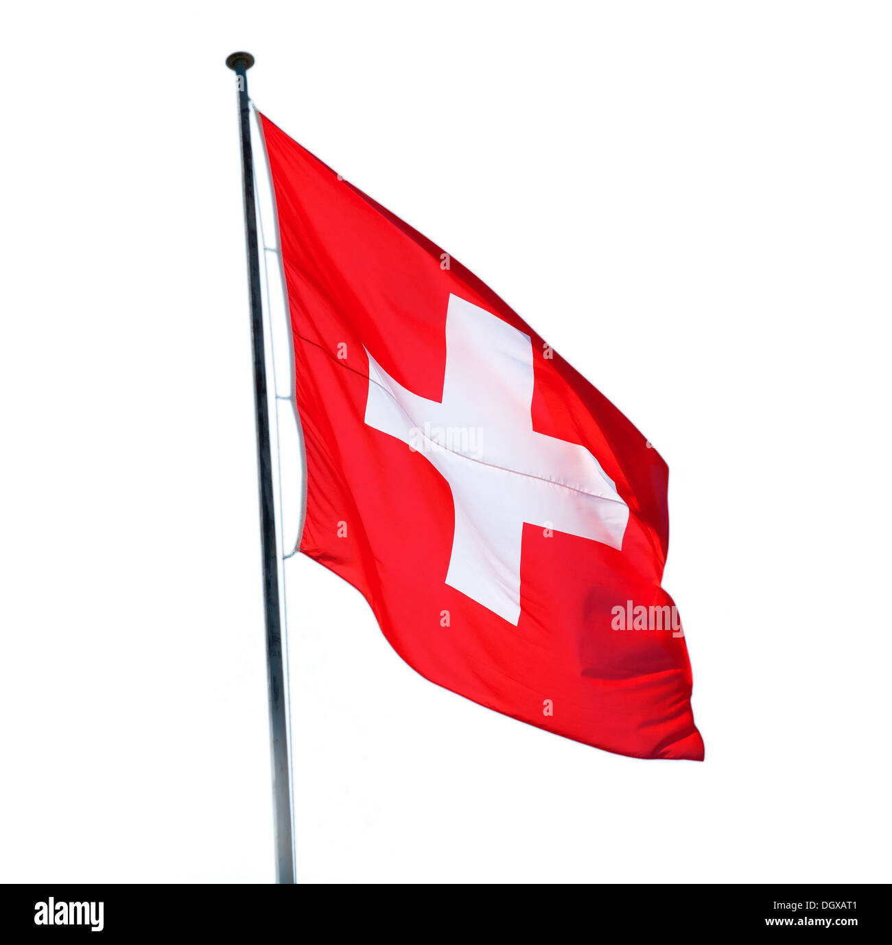 Swiss flag isolated on the white background - Stock Image