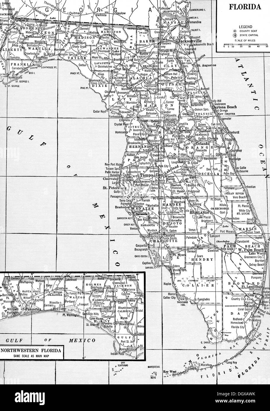 Florida Map Black And White Stock Photos Images Alamy