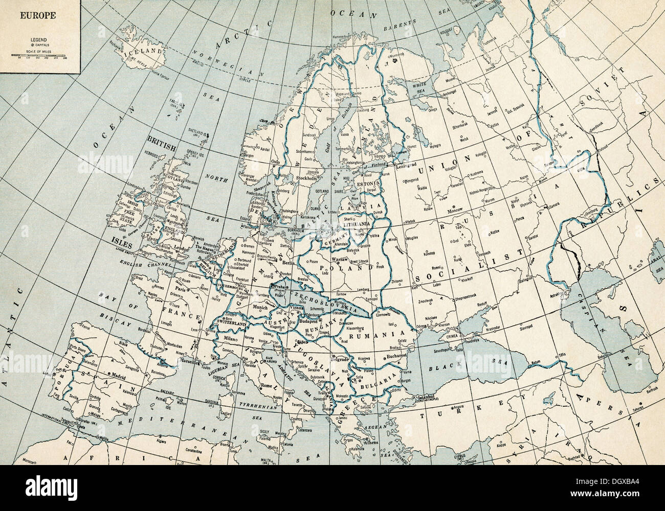 Old Map Of Europe 1930 S Stock Photo 62045260 Alamy