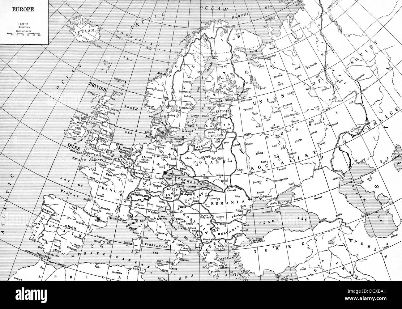Black Map Of Europe.Map Of Europe Black And White Stock Photos Images Alamy