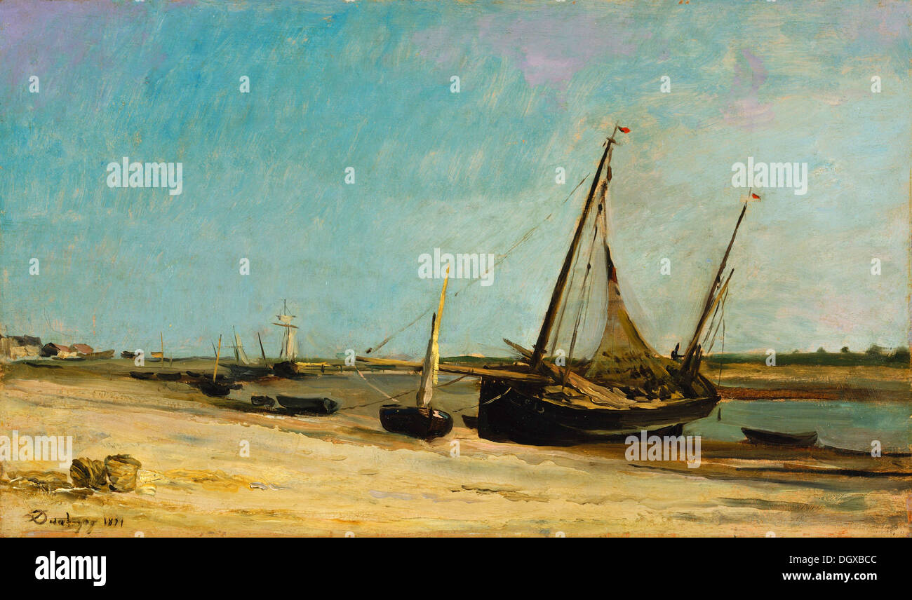 Boats on the Seacoast at Étaples - by Charles-François Daubigny, 1871 - Stock Image