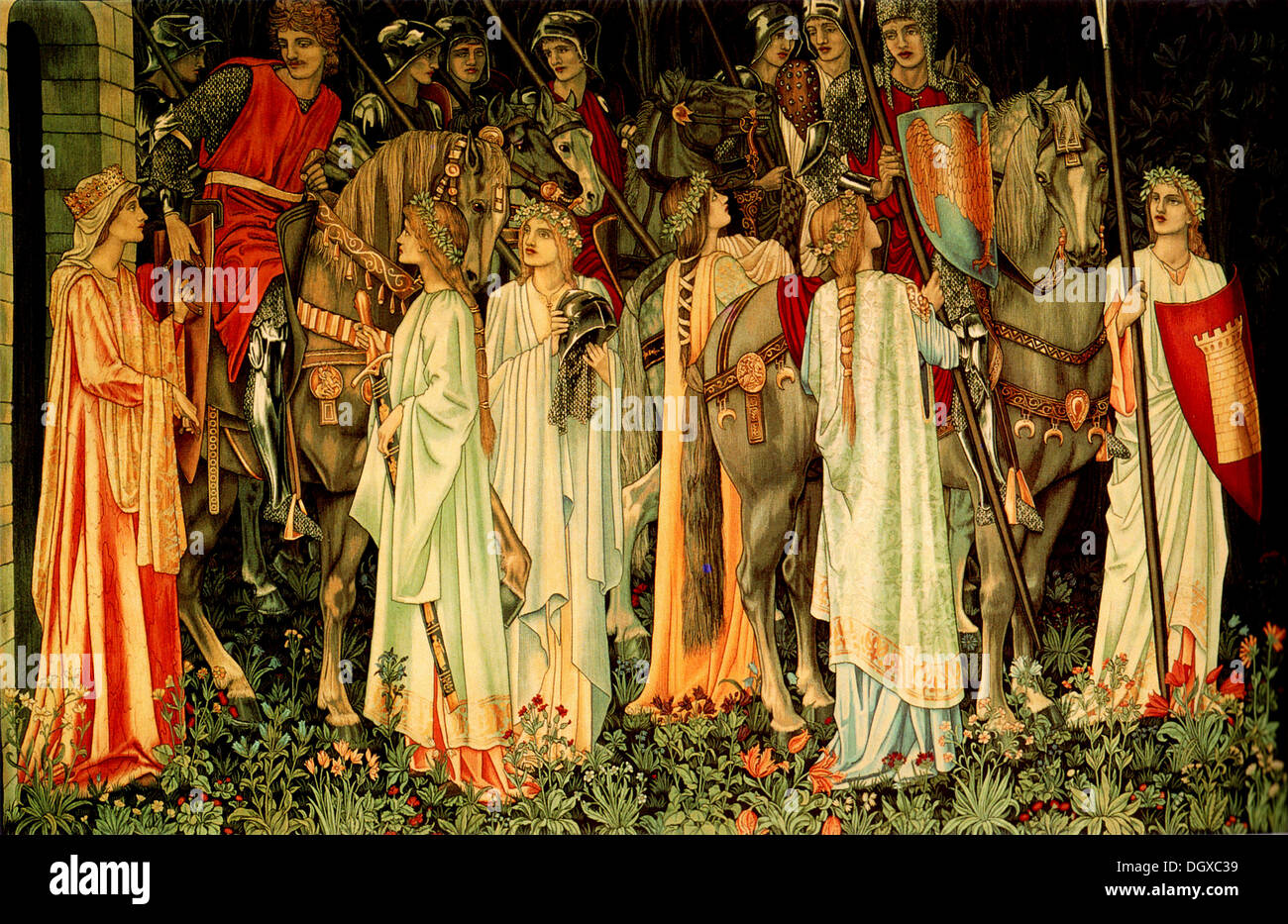 The Arming and Departure of the Knights - by Edward Burne-Jones, 1891 - Stock Image